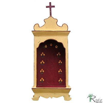 Oratório Artesanal em Madeira para Mesa ou Parede 40cm