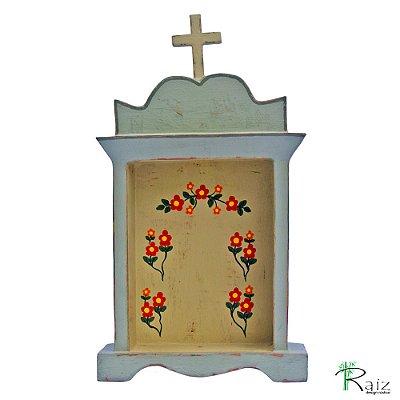 Oratório Artesanal em Madeira Pintado e Encerado
