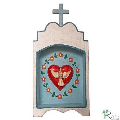 Oratório Divino Espírito Santo Madeira para Mesa ou Parede Branco e Azul