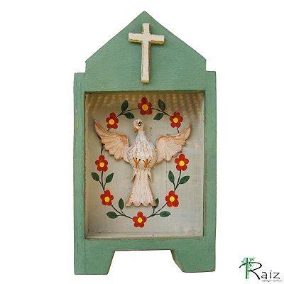 Oratório Divino Espírito Santo Madeira e Vidro para Mesa ou Parede Verde Musgo 26cm