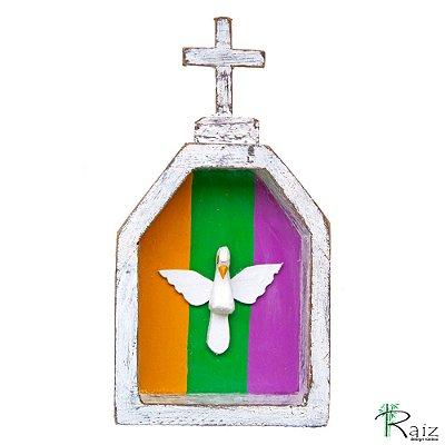 Oratório Divino Espírito Santo Madeira para Mesa ou Parede (18x10x3)cm