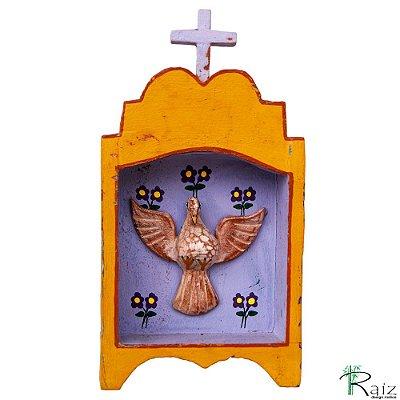 Oratório Divino Espírito Santo Madeira para Mesa ou Parede Amarelo e Azul 22cm