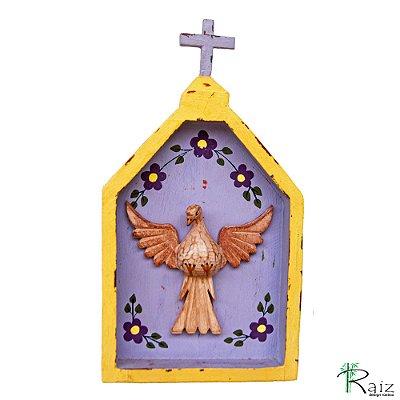 Oratório Divino Espírito Santo Madeira para Mesa ou Parede Amarelo e Violeta (26x14x3)cm