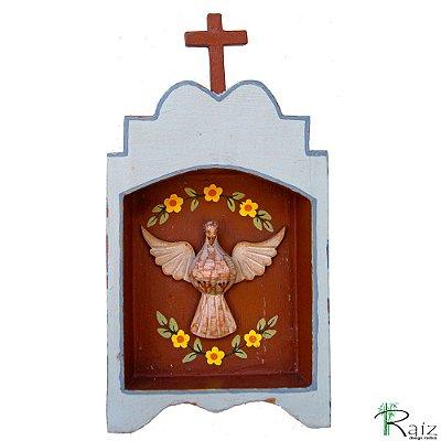 Oratório Divino Espírito Santo Madeira para Mesa ou Parede Azul e Marrom