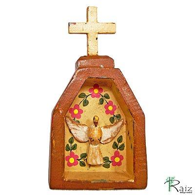 Oratório Divino Espírito Santo Madeira para Mesa ou Parede Marrom (14x7x3)cm
