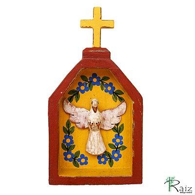 Oratório Divino Espírito Santo Madeira para Mesa ou Parede Marrom e Amarelo (18x10x3)cm