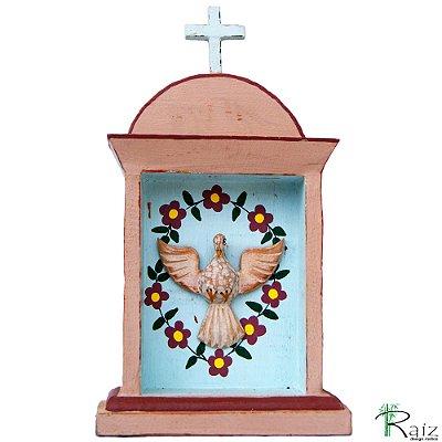Oratório Divino Espírito Santo Madeira para Mesa ou Parede Marrom e Azul 27cm