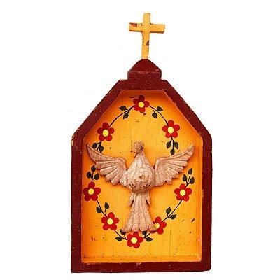 Oratório Divino Espírito Santo Madeira para Mesa ou Parede Marrom e Pêssego (26x14x3)cm