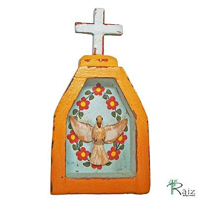 Oratório Divino Espírito Santo Madeira para Mesa ou Parede Pêssego (14x7x3)cm