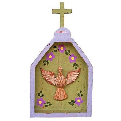 Oratório Divino Espírito Santo Madeira para Mesa ou Parede Roxo e Verde (24x13x3)cm