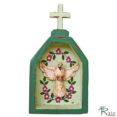 Oratório Divino Espírito Santo Madeira para Mesa ou Parede Verde Musgo (18x10x3,5)cm