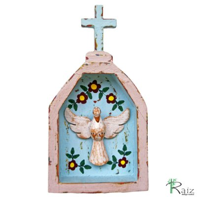 Oratório Divino Espírito Santo Madeira para Mesa ou Parede Violeta Claro (18x10x3,5)cm