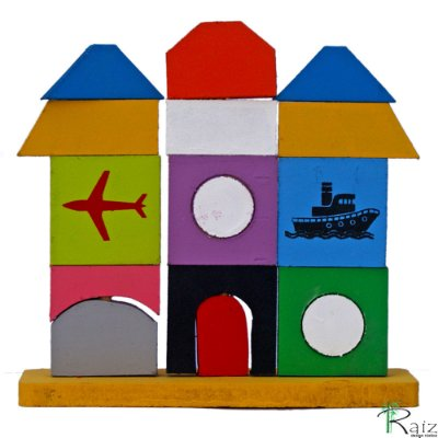 Brinquedo Educativo em Madeira Edifício de Encaixe Vertical