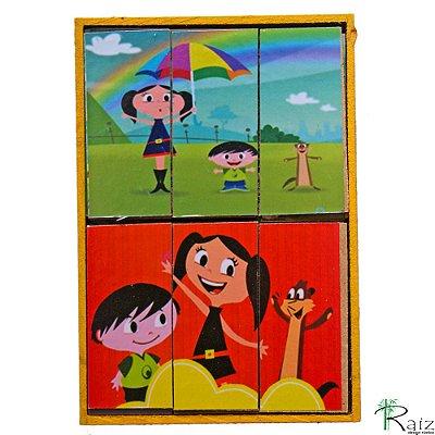 Brinquedo Educativo em Madeira Quebra Cabeça Luna