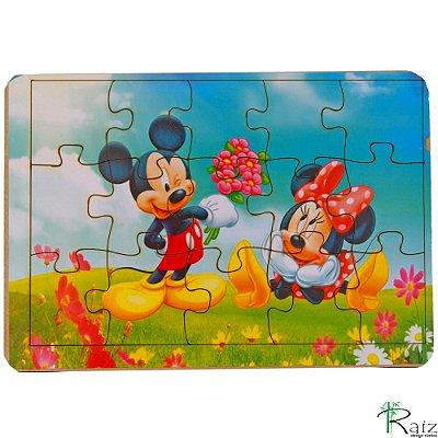 Brinquedo Educativo em MDF Quebra-Cabeça Mickey e Minnie