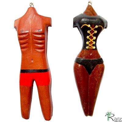 Indicadores de Porta de Banheiro em Madeira Corpo Masculino e Feminino Entalhados