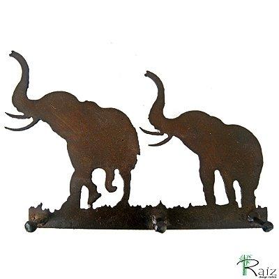 Cabideiro/Chaveiro Elefantes Recortado em Ferro 3 Pinos