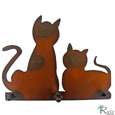 Chaveiro/Cabideiro Recortado em Ferro Três Pinos Gatos