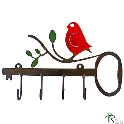 Chaveiro/Cabideiro Recortado em Ferro Quatro Ganchos Pássaro