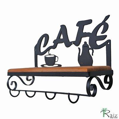Porta Xícaras Café Madeira e Ferro com 4 Ganchos