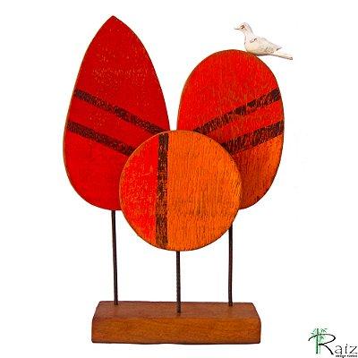 Escultura de Mesa em Madeira de Demolição Árvores com Pássaro