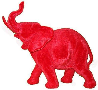 Elefante Flocado Vermelho