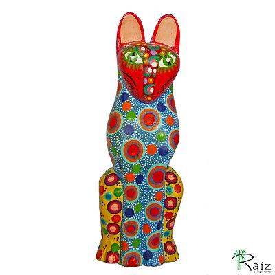 Escultura de Gato em Madeira Maciça Entalhado e Pintado à Mão Colorido (25x8,5x7,5)cm