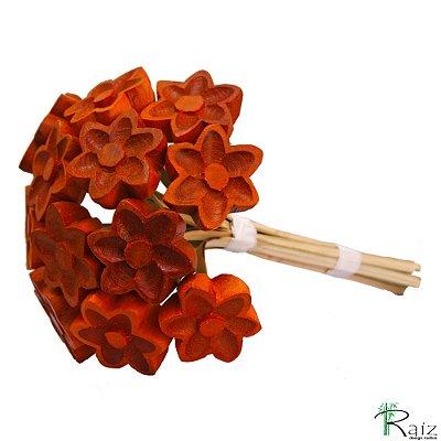 Buque de Flores Marrons (Dúzia) Entalhado na Madeira P