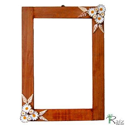 Moldura com Flores para Espelho Madeira Encerada 70cm