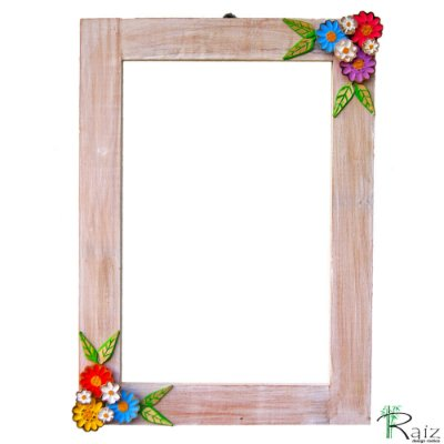 Moldura com Flores para Espelho Madeira Patinada 70cm