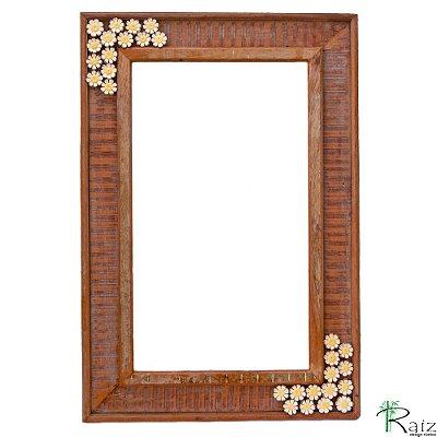 Moldura de Espelho em Madeira com Flores Linha Fina
