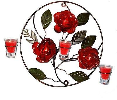 Mandala Ferro Com Rosas Vermelhas