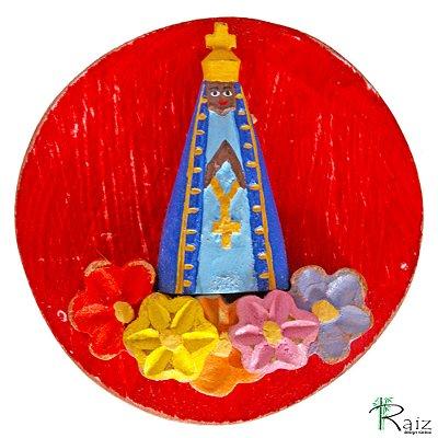 Mandala Nossa Senhora Aparecida com Flores Coloridas Madeira (12x12)cm