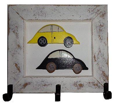 Quadro Cabideiro Fusquinhas Amarelo e Preto (27x25cm)