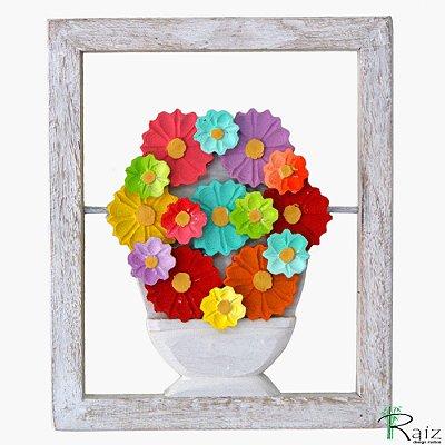 Quadro Vaso de Flores Madeira Vazado (30x25)cm