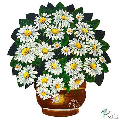 Quadro Vaso de Flores Recortado em Chapa de Ferro Pintado Margaridas