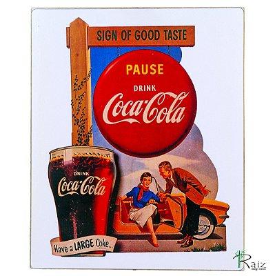 Placa Retrô Coca Cola 6 Linha Vintage (23x19cm)