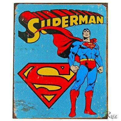 Placa Retrô Coleção Desenho Superman Linha Vintage (23x19cm)