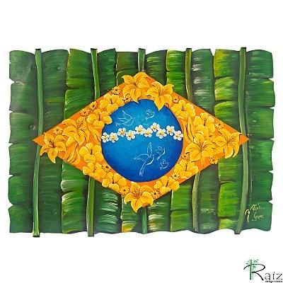 Quadro Artesanal Galvanizado Bandeira do Brasil Pintado (40 x 58)cm