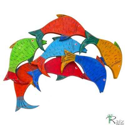 Quadro Artesanal Peixes em Madeira