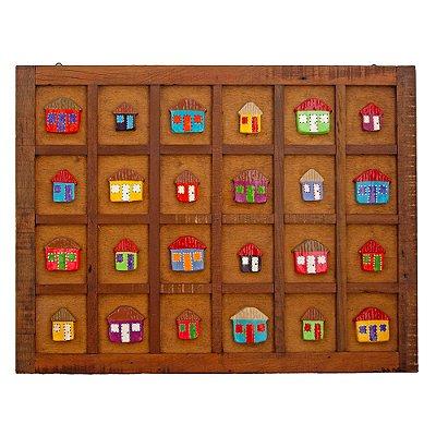 Quadro Artesanal com Casinhas Madeira (78 x 101)cm