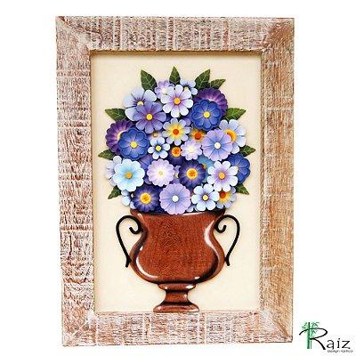 Quadro De Flores Madeira Azul 67cm