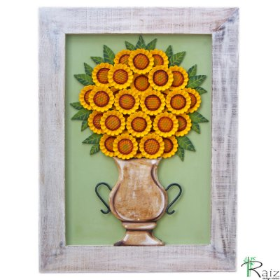 Quadro de Flores Vaso com Girassóis Madeira Luxo