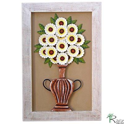 Quadro Decorativo Vaso de Flores Brancas Madeira Luxo
