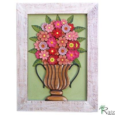 Quadro Decorativo Vaso de Flores Rosas e Vinho Madeira Luxo