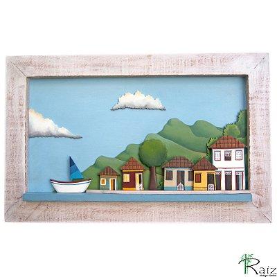 Quadro Decorativo Vilarejo com Barcos em Alto-Relevo