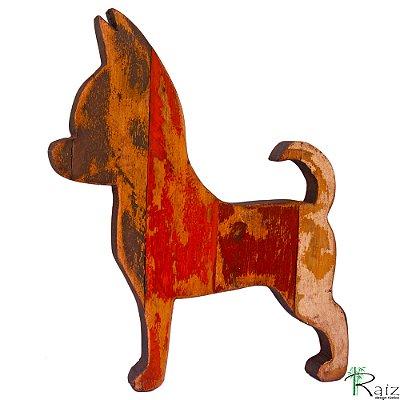 Quadro em Madeira de Demolição Cachorro Chihuahua