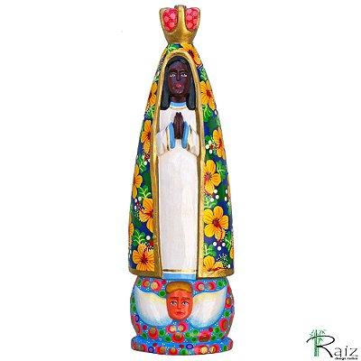 Quadro Escultura Artesanal em Madeira Nossa Senhora Aparecida