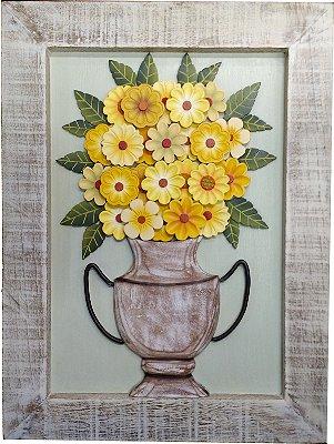 Quadro Flores de Amarelas Coleção Contento 60 cm
