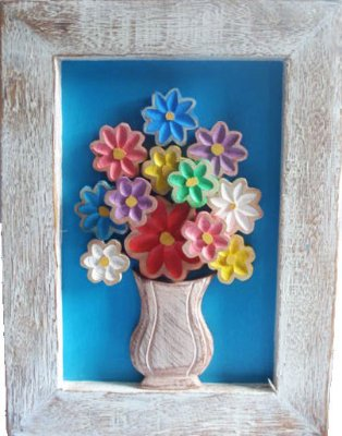 Quadro Flores Sobrepostas Madeira Linha Primavera Azul (30x40cm)
